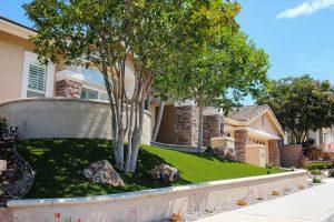 artificial turf installed in San Diego home front yard near sidewalk