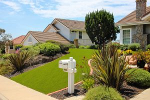 artificial turf installed in San Diego home front yard with mailbox