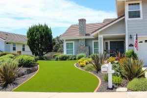 artificial turf installed in San Diego home front yard