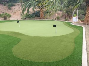 putting green with various artificial turf patches