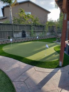 Putting green installed with artificial turf
