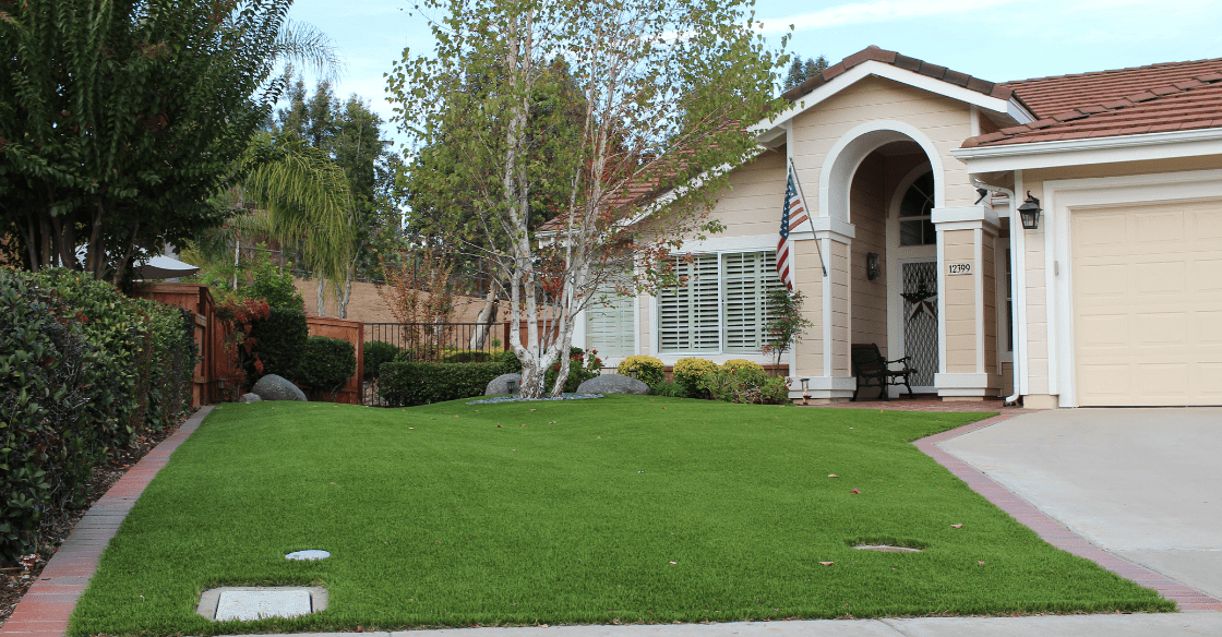 Front yard transformed using US Turf
