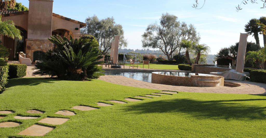 artificial turf in a backyard