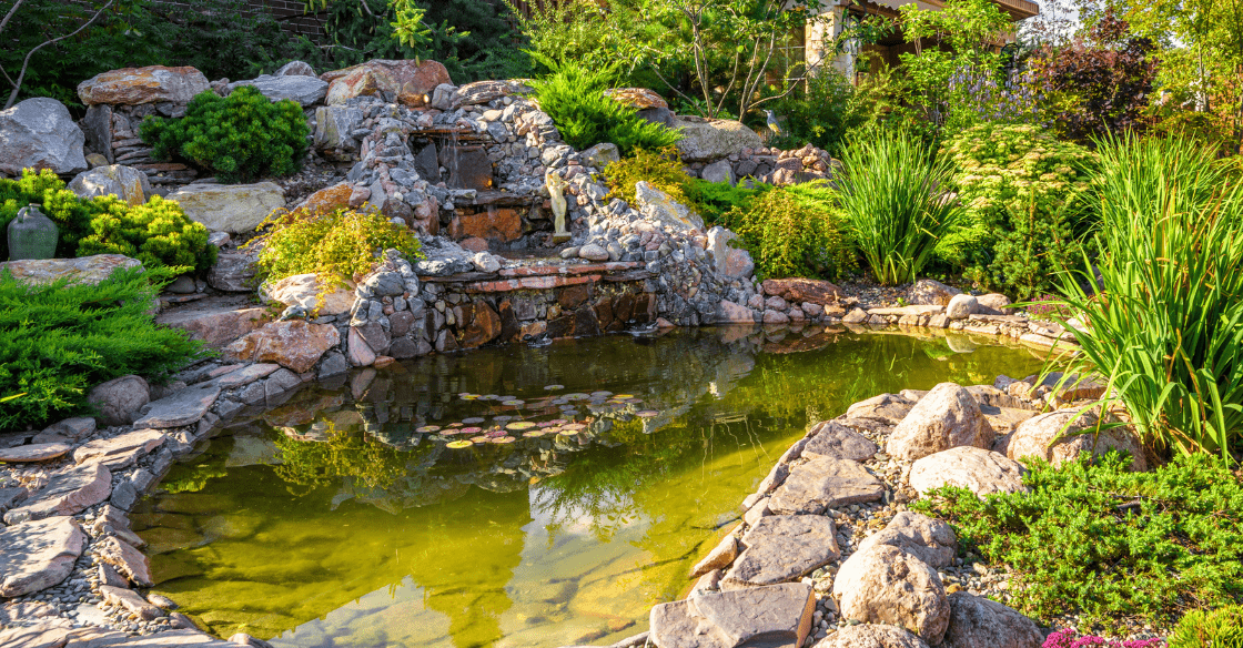 water design feature in backyard