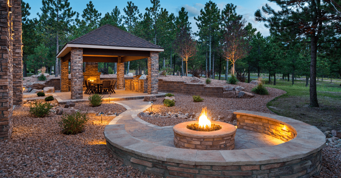 outdoor space with fire pit