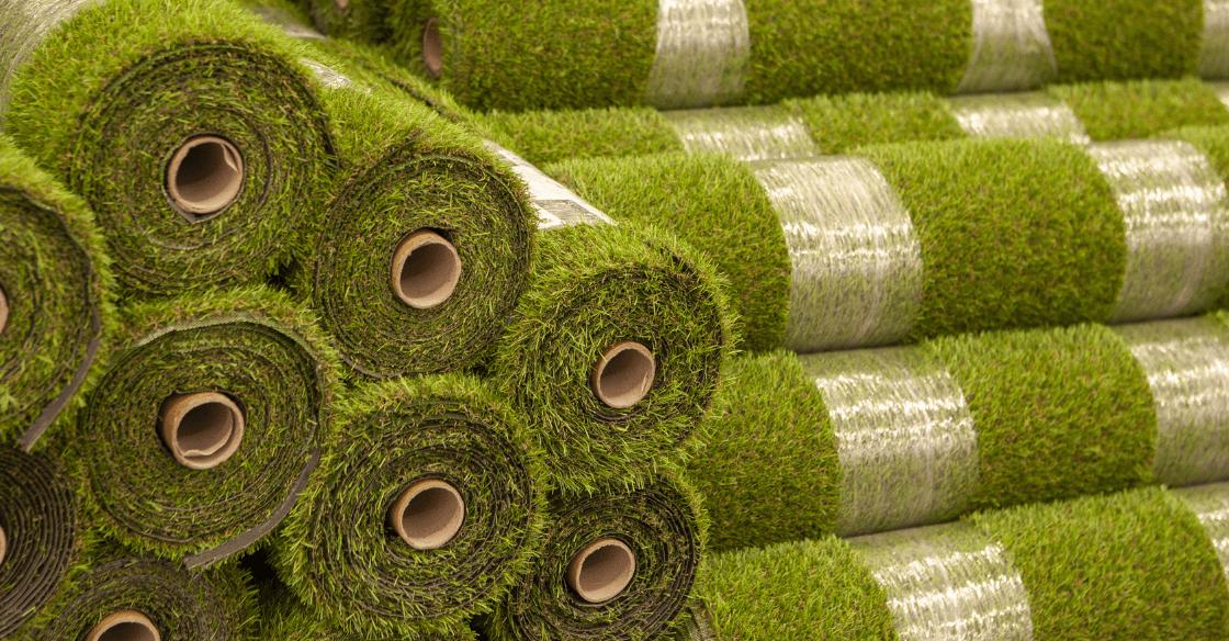 Rolls of artificial turf