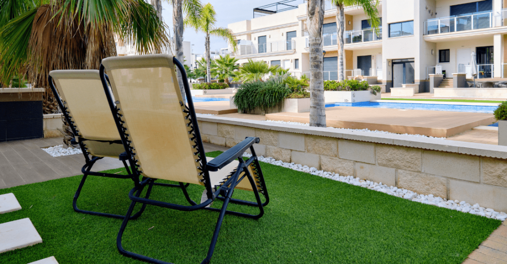 apartment building with artificial grass