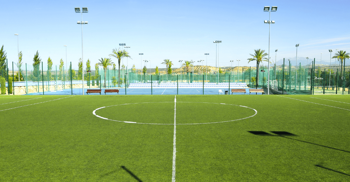 Soccer field with artificial turf