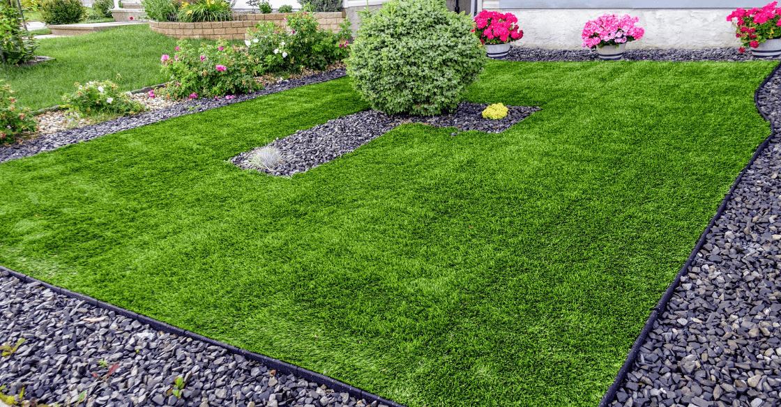 lawn with artificial turf