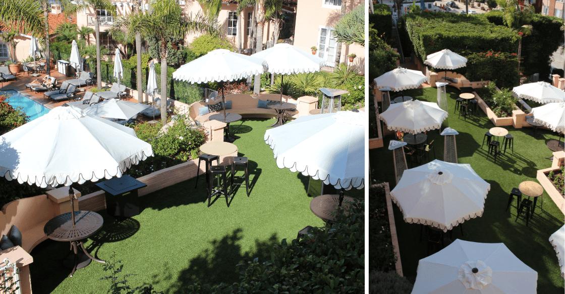 Outdoor wedding venue with artificial grass at La Valencia hotel in La Jolla, CA