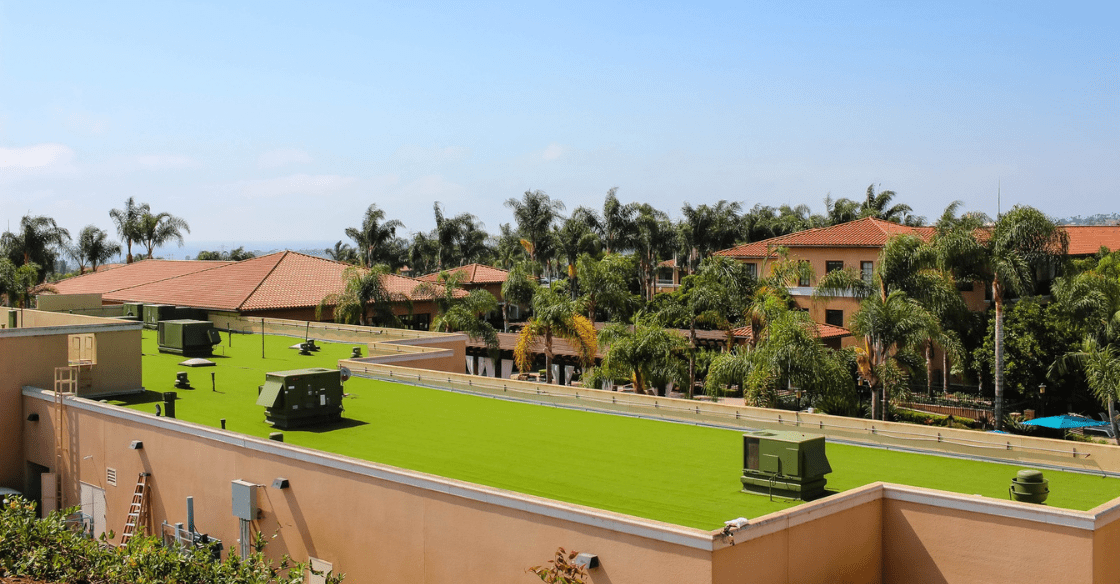 US Turf installed commercial artificial turf on an office building