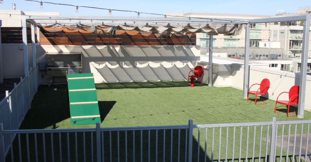 US Turf Dog Park installed on the rooftop of the Vici Apartments in San Diego