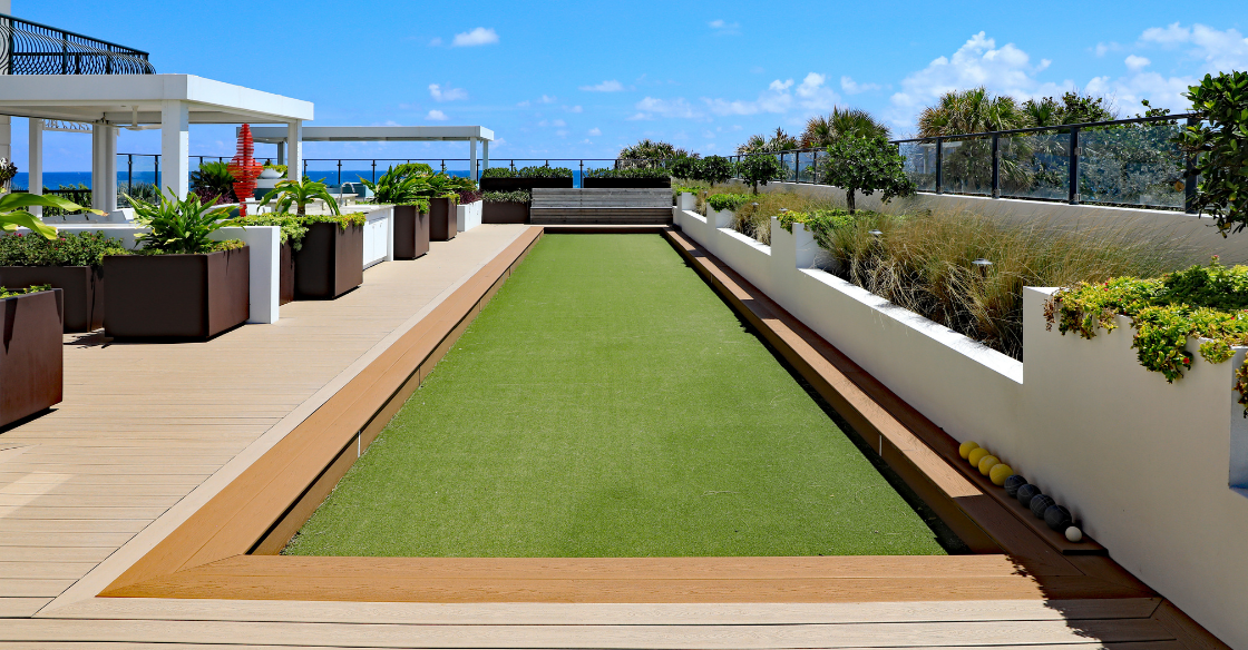 Rooftop deck area with artificial turf