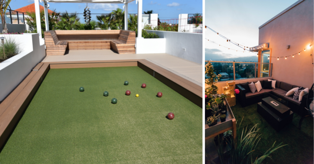 Examples of a artificial turf being used on a rooftop deck
